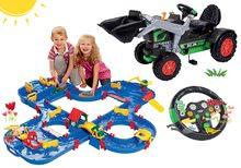 Set šliapací traktor nakladač Big Jim Turbo s interaktívnym volantom prívesom a vodná dráha AquaPlay'n Go BIG56513-3