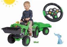 Set traktor na šliapanie Jim Loader BIG s nakladačom a prívesom a interaktívny volant so zvukom
