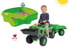 Set detský traktor na šliapanie Jim Loader BIG s nakladačom a prívesom a pieskovisko Sandy