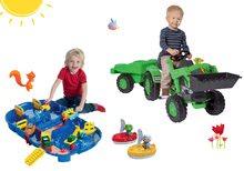 Set šliapací traktor Jim Loader s nakladačom a prívesom+vodná dráha AquaPlay Lock Box v kufríku s loďkami BIG56516-16