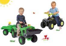 Set šľapací traktor Jim Loader s nakladačom a prívesom+odrážadlo štvorkolka Quad s klaksónom BIG56516-8