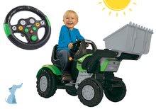 Tractor cu pedale John XL BIG cu încărcător frontal verde şi volan interactiv cu sunet