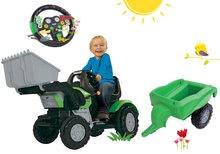 Set šliapací traktor John XL s nakladačom s prívesom+interaktívny volant so zvukom a svetlom BIG56546-3