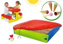 Pieskovisko BIG s krycou plachtou+detský stôl Piknik s úložným priestorom a zmrzlinou BIG56726-7
