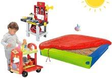 Pieskovisko BIG s krycou plachtou+zmrzlinársky vozík s hamburgermi+pracovný stôl Mecanics s náradím BIG56726-8