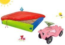 Set nisipar BIG cu prelată și babytaxiu maşină Flower Bobby Car Classic cu claxon de la 12 luni