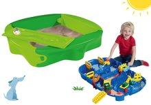 Set pieskovisko Sandy BIG s pevným krytom+vodná dráha pre deti AquaPlay LockBox v kufríku BIG56733-9