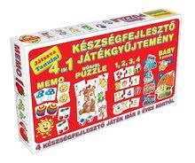 Spoločenské hry pre deti - Súprava hier 4 v 1 Dohány červená/zelená_1
