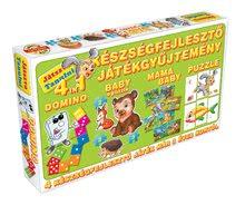 Spoločenské hry pre deti - Súprava hier 4 v 1 Dohány červená/zelená_2