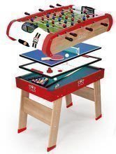 Drevený futbalový stôl Powerplay 4v1 Smoby - stolný futbal, biliard, hokej a tenis od 8 rokov
