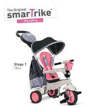 Tricikel Deluxe TouchSteering 4v1 smarTrike s strehico in dvema torbama rožnato-črn od 10 mes