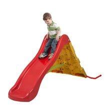 Šmykľavka pre deti s lezeckou stenou Starplast červeno žltá