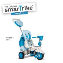 Trojkolky od 10 mesiacov - Trojkolka Splash 5v1 Blue&White smarTrike 360° riadenie s polohovateľnou opierkou modro-krémová od 10 mes_3