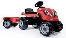 Traktor na pedala Farmer XL Smoby s prikolico rdeč