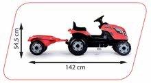 Vehicule cu pedală pentru copii - Tractor cu pedale RX Bull Smoby cu remorcă roşu_4