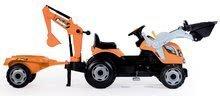Traktor na šlapání Builder Max Stavbař Smoby s bagrem a nakladačem oranžový