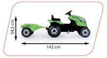 Dětská šlapací vozidla - Traktor na šlapání RX Bull Smoby s přívěsem zelený_3