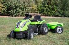Dětská šlapací vozidla - Traktor na šlapání RX Bull Smoby s přívěsem zelený_2
