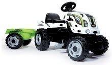 Traktor pre deti šliapací Farmer XL Kravička Smoby s prívesom bielo-čierny