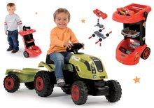 Set traktor na šliapanie Claas Farmer XL s prívesom a pracovný stôl na kolieskach Autá 3 s autíčkom SM710114-11 akcia