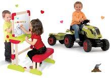 Set traktor na šliapanie Claas Farmer XL s prívesom Smoby a drevená školská lavica Modulo Space