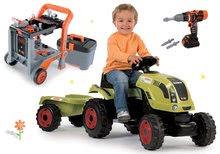 Set traktor na šliapanie Claas Farmer XL s prívesom a pracovná dielňa Black&Decker Devil Workmate 3v1 s elektronickou vŕtačkou SM710114-6