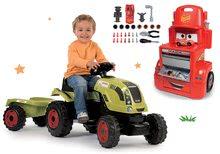 Set traktor na šliapanie Claas Farmer XL s prívesom a pracovná dielňa vozík Autá Mack Truck SM710114-7