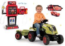 Set traktor na šliapanie Claas Farmer XL s prívesom a benzínová pumpa Autá 3 elektronická+opasok s autíčkom SM710114-9