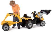 Otroška vozila na pedala - Traktor z bagrom in nakladalno roko Builder Max Smoby s prikolico, na pedale_1