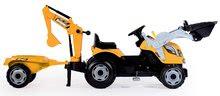Otroška vozila na pedala - Traktor z bagrom in nakladalno roko Builder Max Smoby s prikolico, na pedale_2