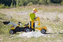 Otroška vozila na pedala - Traktor z bagrom in nakladalno roko Builder Max Smoby s prikolico, na pedale_9
