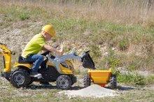 Otroška vozila na pedala - Traktor z bagrom in nakladalno roko Builder Max Smoby s prikolico, na pedale_10