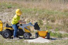 Otroška vozila na pedala - Traktor z bagrom in nakladalno roko Builder Max Smoby s prikolico, na pedale_11