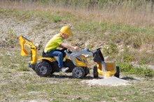 Otroška vozila na pedala - Traktor z bagrom in nakladalno roko Builder Max Smoby s prikolico, na pedale_13
