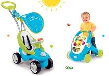Set babytaxiu Bubble Go Smoby cu copertină şi premergător dezvoltătoare de abilităţi Cotoons de la 6 luni