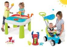 Set babytaxiu Bubble Go Smoby cu melodii, măsuță Apă&Nisip 2in1 și moară de la 6 luni