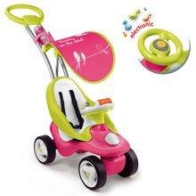 Babytaxiu Bubble Go Smoby 2in1 cu copertină şi cu volan electronic roz-verde de la 6 luni