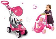 Set detské odrážadlo a chodítko Bubble Go Smoby a kočík pre bábiku MiniKiss od 6 mesiacov ružové