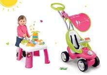 Set babytaxiu Bubble Go Smoby cu parasolar şi masă de jucărie pentru dezvoltarea abilităţilor Cotoons de la 6 luni