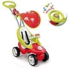 Babytaxiu Bubble Go Smoby 2in1 cu copertină şi cu volan electronic roşu-verde de la 6 luni