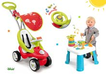 Set babytaxiu Bubble Go Smoby muzical şi masă didactică pentru jucat Cotoons de la 6 luni