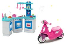 Szett bébitaxi Scooter Pink Smoby gumikerekekkel és játékkonyha French Cuisine 3-részes 25 kiegészítővel 18 hó-tól