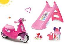 Szett bébitaxi Scooter Pink Smoby gumikerekekkel és csúszda Toboggan vízsugárral és vödör szettel 18 hó-tól
