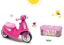 Set babytaxiu Scooter Pink Smoby şi joc de construit Maxi Abrick Écoiffier în cutie cu cuburi mari de la 18 luni