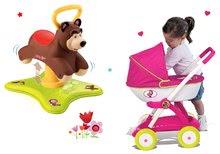 Komplet poganjalec Medved 2v1 Smoby skakajoči in vrteči se in globoki voziček Maša in medved od 12 mes