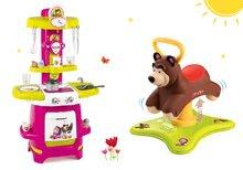 Set babytaxiu Ursuleţ 2in1 Smoby săltăreţ, rotitor şi bucătărie Cooky cu 22 de accesorii de la 12 luni