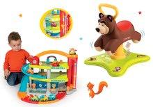 Set odrážadlo Medveď 2v1 Smoby skákajúci a točiaci sa a garáž Vroom Planet Grand