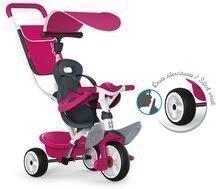Tricikel Baby Balade Blue Smoby z EVA kolesi rožnato-siv od 10 mes