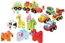 Stavebnica Maxi Abrick Superpack 3v1 zvieratká, autá a vláčik Écoiffier veľké kocky s IML potlačou od 12 mesiacov