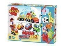 Set de jucării de construit Maxi Abrick Superpack 3în1 Écoiffier animăluţe,maşinuţe trenuleţ, cuburi mari cu printare IML de la 12 luni